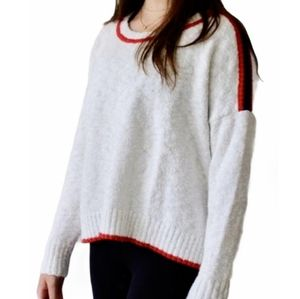 AEO Red White and Blue High Low Pullover Sweater